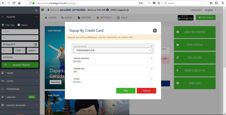 Top Up di VAN Bisa Menggunakan Kartu Kredit 2